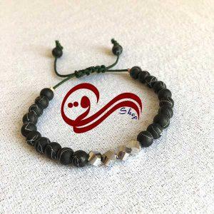 دستبند مردانه بندی نخ بافت مهره خمیری مات Men bracelet