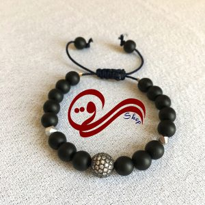 دستبند مردانه بندی نخ بافت سنگ اونیکس مات گوی نگین استیل Men bracelet