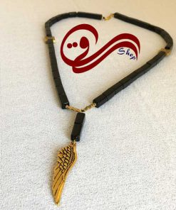 گردنبند مردانه سنگ انیکس مستطیلی بال طلایی Men Necklaces