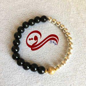 دستبند دخترانه کلید سل سنگ فیروزه زنجیر برنج