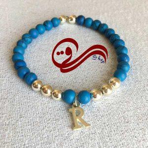 دستبند مردانه کشی مهره مات خمیری آبی حروف Men bracelet R
