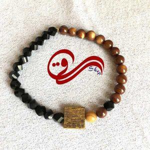 دستبند مردانه کشی سنگ چشم ببر خرجکار مربع Men bracelet