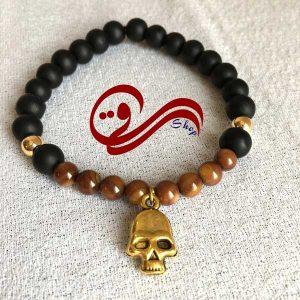 دستبند مردانه کشی سنگ چشم ببر و اونیکس مات خرجکار اسکلت Men bracelet