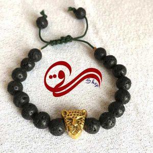 دستبند مردانه بندی بافت سنگ آتشفشان خرجکار ببر Men bracelet