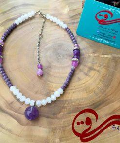 گردنبند زنانه سنگ آمیتیس اصلWomen's necklace amethyst stones