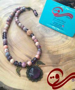 گردنبند زنانه سنگ بادمجونی Women Necklaces Stone