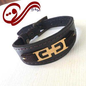 دستبند چرم درجه یک قهوه ای تیره کلفت پلاک استیل رنگ ثابت Leather Bracelet white Steel Solid color