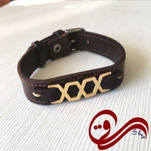 دستبند چرم درجه یک قهوه ای تیره پلاک استیل رنگ ثابت Leather Bracelet white Steel Solid color