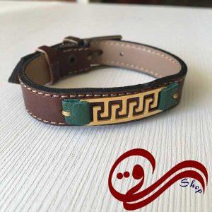 دستبند چرم درجه یک قهوه ای تیره سبز ترکیبی پلاک استیل رنگ ثابت Leather Bracelet white Steel Solid color