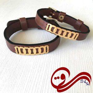 دستبند چرم پلاک استیل رنگ ثابت ست جفتی Girl's Bracelet Leather Steel Solid color