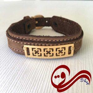دستبند چرم جیر عسلی پلاک استیل رنگ ثابت Leather Bracelet white Steel Solid color