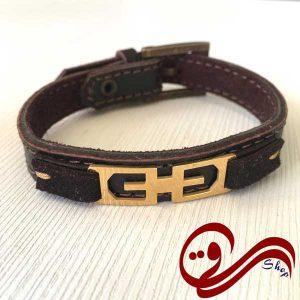 دستبند چرم درجه یک قهوه ای تیره نازک پلاک استیل رنگ ثابت Leather Bracelet white Steel Solid color