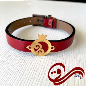 دستبند چرم رنگی قرمز پلاک انار استیل رنگ ثابت Girl's Bracelet Red Leather Steel Solid color
