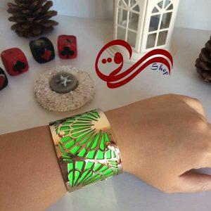 دستبند فنری ته باز استیل سبز