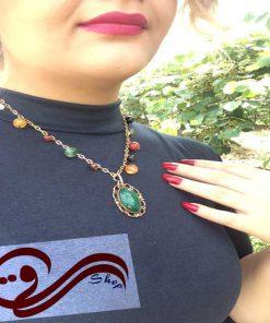 گردنبند زنانه سنگ یشم رزگلد Women Necklaces Stone Yashm Ros Gold