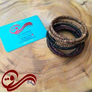دستبند دخترانه مارپیچی مهره چوبی Girl's Bracelet