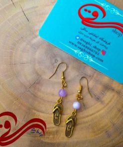 گوشواره آویزی طلایی دمپایی Earring