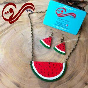 نیم ست زنانه گردنبند و گوشواره هندوانه چوبی Women Set Necklaces bracelet Wooden Watermelons