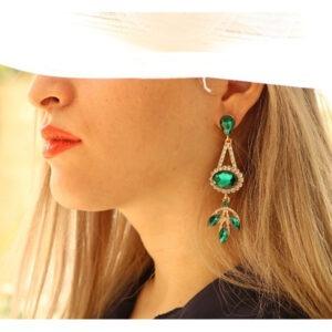 گوشواره زنانه زمرد سبز