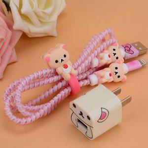 پک محافظ کابل شارژ بدون کیف خرس صورتی Pink Bear Usb Cable Protector