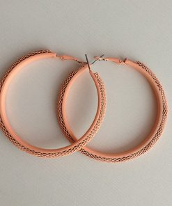 گوشواره حلقه ای توری فلز رنگی Earring