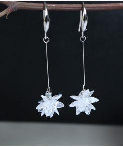گوشواره حلقه ای گل کریستالی