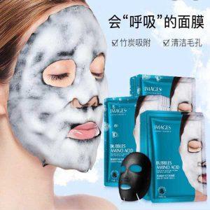 ماسک ورقه ای حباب ذغال بامبو اسید آمینه برند amino acid bamboo charcoal bubble mask Images