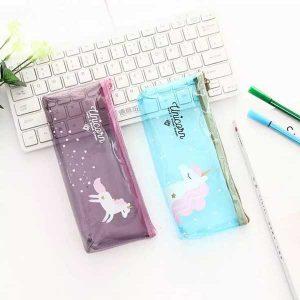 جامدادی شیشه ای شفاف یونیکورن Transparent Unicorn Pencil Case