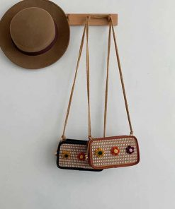 کیف مجلسی طرح حصیری گلدار Flower mat Handbag