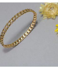 دستبند بافت زنجیری طلایی