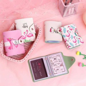 Card Leather bag Unicorn & Flamingo