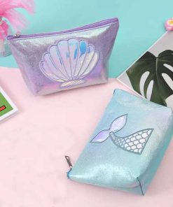 کیف آرایشی هولوگرامی مات پری دریایی Mermaid Hologram matte Makeup bag