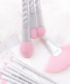براش 10 تکه مات نقره ای طرح یونیکورن Unicorn silver mate Makeup brush