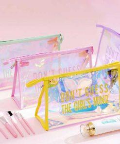 کیف آرایشی هولوگرامی لبه چرمی مستطیلی Hologram Makeup bag