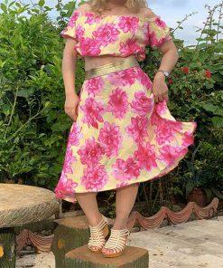 ست نیم تنه و دامن نخی گل داوودی صورتی Pink Chrysanthemum jacket & Skirt