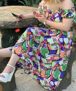 ست نیم تنه و دامن نخی آبرنگی Watercolor thread jacket & Skirt