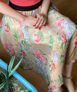 دامن حریر شیشه ای گل داودی کرم glass Cream Chrysanthemum Hariri skirt