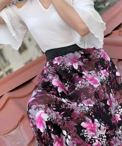 دامن حریر گل شیشه ای صورتی pink glass Hariri skirt