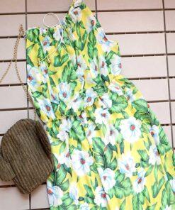 پیراهن ساحلی حریر گلدار